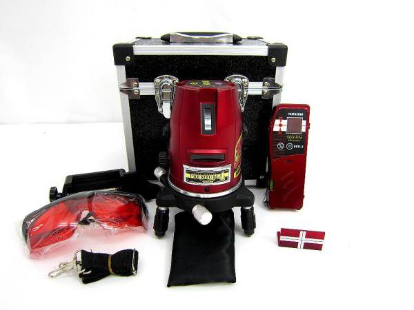 山真 ヤマシン レーザーマスター プレミアム PM-4-J レーザー墨出し器 受光器セット レッド 中古品