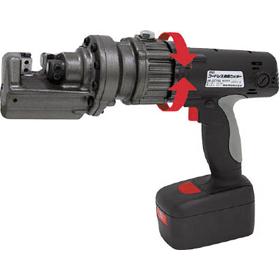 硬い棒をわずか5秒程度でカットできる育良精器(IKURA) のIS-SC16LEという鉄筋カッター・パンチャー・圧着!ヘッド部分も360度回転するので便利な電動工具